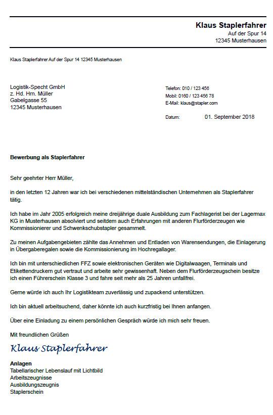 Bewerbung Kommissionierer In Berufseinsteiger 6