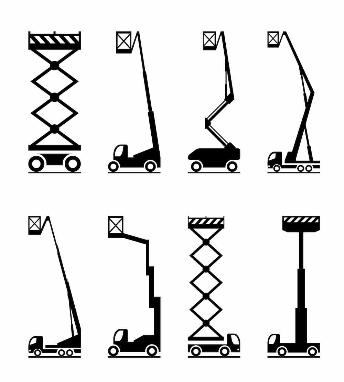 Verschiedene Arten von Arbeitsbühnen © angelha, stock.adobe.com