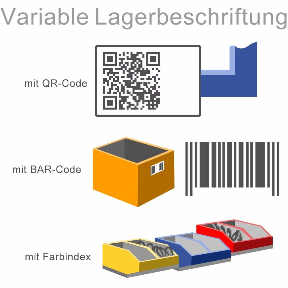 Variable Lagerbeschriftung mit Bar- oder QR-Code