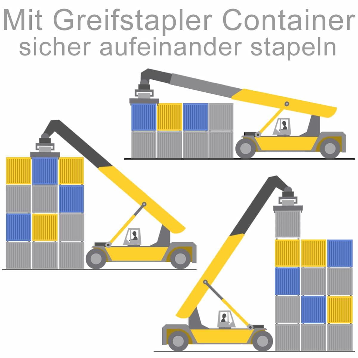 Mit Greifstaplern Container sicher aufeinander stapeln