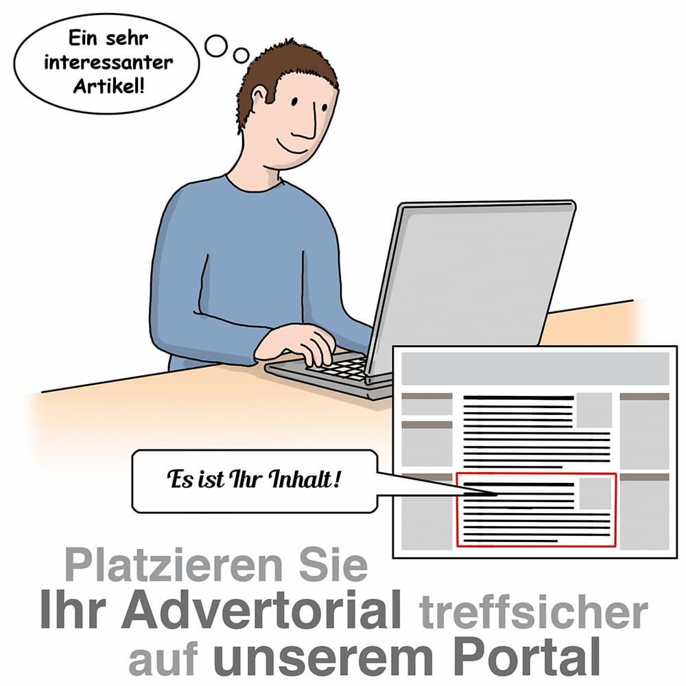 Plazieren Sie Ihr Advertorial treffsicher auf unserem Portal