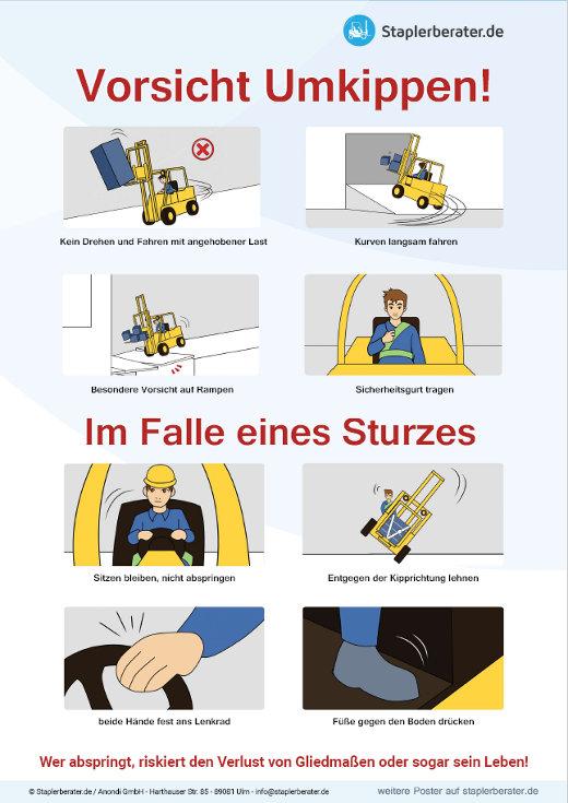 Poster: Richtiges verhalten im Falle des Stapler Umkippens