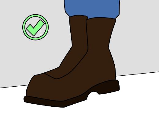 Schutzkleidung und Sicherheitsschuhe tragen