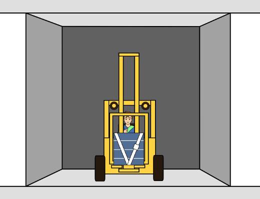 Stapler im Aufzug