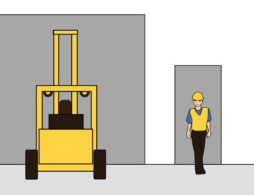Getrennte Eingänge für Stapler und Fußgänger