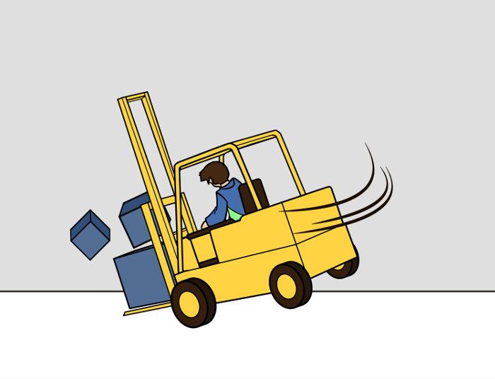 Vorsicht beim Stapler fahren