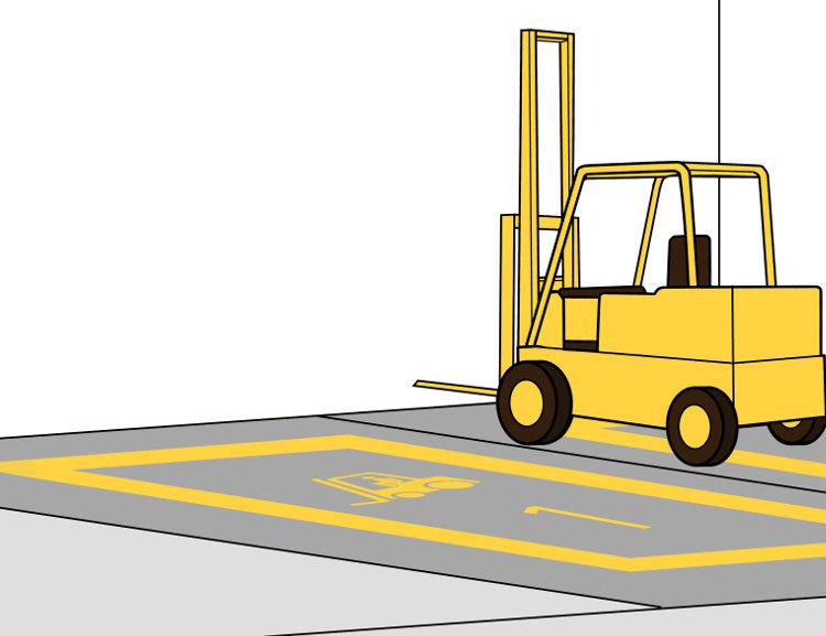 Stapler nur auf ausgewiesenen Parkplätzen abstellen
