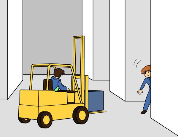 Vorsicht am Regal vor Fußgänger