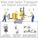 Gabelstapler und Hubwagen sicher transportieren