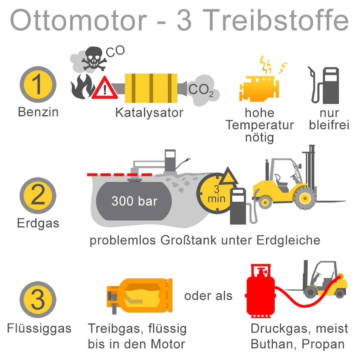 Für den Ottomotor können drei Treibstoffe genutzt werden